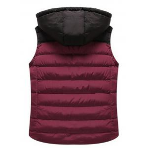 Drawstring Color Block Hooded Puffer Vest -