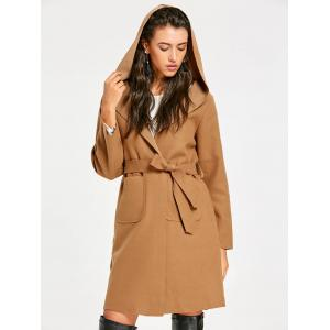 Light Brown One Size Fornt Pocket Hooded Wrap Coat | RoseGal.com