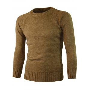 Ribbed Edge Knitted Crew Neck Sweater -