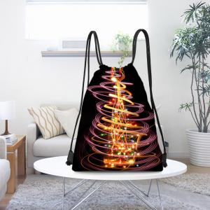 Gorgeous Christmas Tree Print Drawstring Backpack -