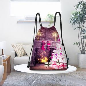 Fireplace and Christmas Tree Print Drawstring Backpack -