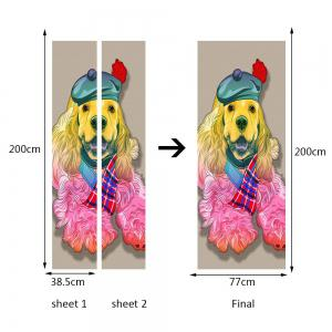 Hatted Dog Pattern Door Cover Stickers -