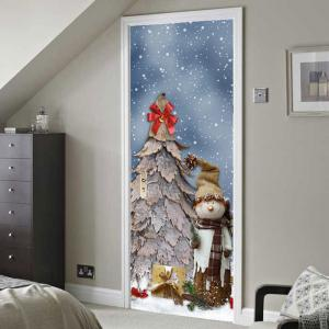 Snowy Christmas Tree Pattern Door Cover Stickers -