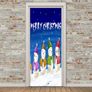 Snowmen Christmas Greetings Pattern Door Cover Stickers -