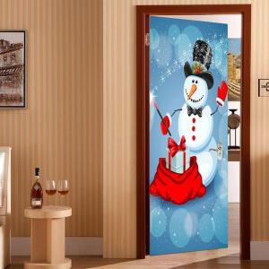 Snowman Magician Pattern Environmental Removable Door Stickers -