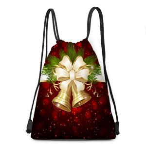Christmas Bells Pattern Candy Gift Drawstring Storage Bag -