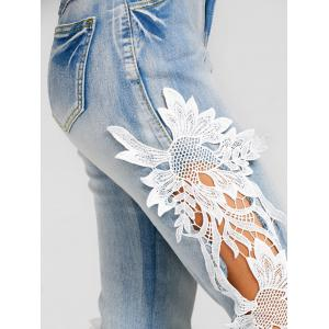 Hollow Out Lace Insert Skinny Jeans -