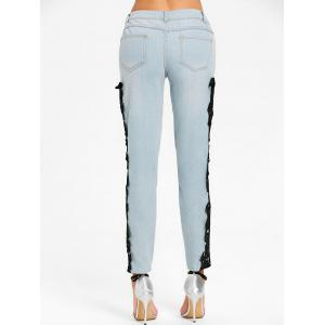 Light Wash Lace Insert Skinny Jeans -