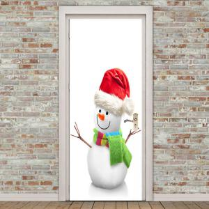 Environmental Removable Cute Snowman Pattern Door Stickers -