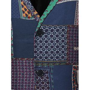 Lapel Single Breasted Patchwork Linen Blazer -