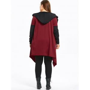 Plus Size Hooded Two Tone Coat -