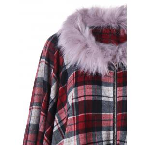 Plus Size Plaid Faux Fur Coat -