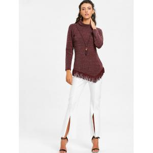 Asymmetrical Fringed High Neck Tunic Sweater -