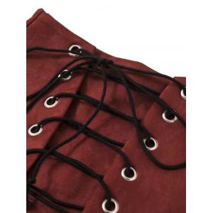 Faux Suede Mini Lace Up Skirt -