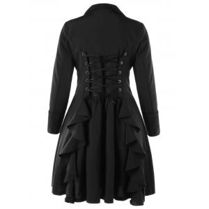 Plus Size Lace Up Ruffle Coat -