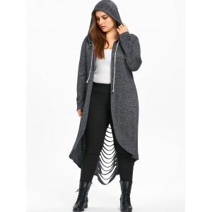 Plus Size Hooded Marled Ladder Shredding Coat -