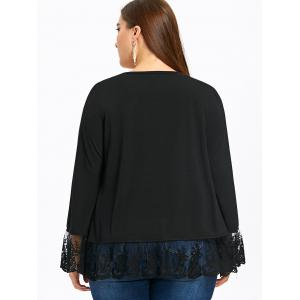 Plus Size Flare Sleeve Lace Trim Open Front Jacket -