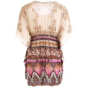 Tribal Printed Butterfly Sleeve Blouse -