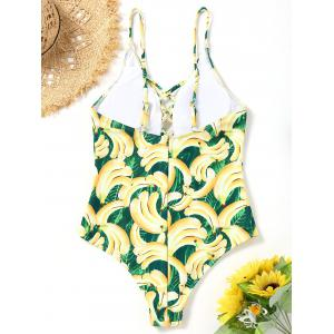 Banana Print Strappy One Piece Swimsuit -
