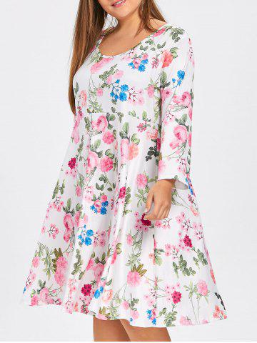 Robe Patineuse Florale Grande Taille avec Manches
