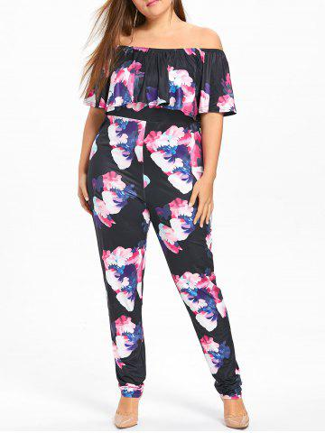 Affordable Floral Plus Size Ruffle Off The Shoulder Jumpsuit