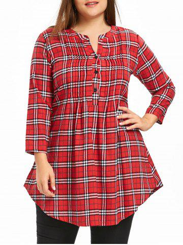 Latest Plus Size Plaid Pintuck Tunic Shirt