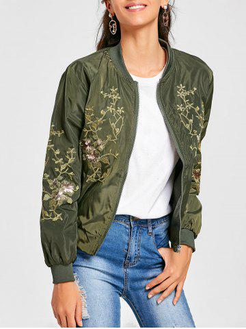 Fashion Embroidered Sequin Zip Up Jacket