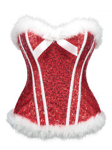 Chic Sequined Christmas Feathers Trim Corset