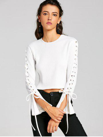 Ribbed Lace Up Sleeve Crop Top