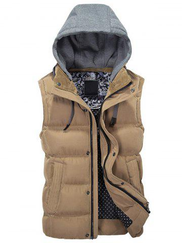 Latest Contrast Drawstring Hood Padded Vest