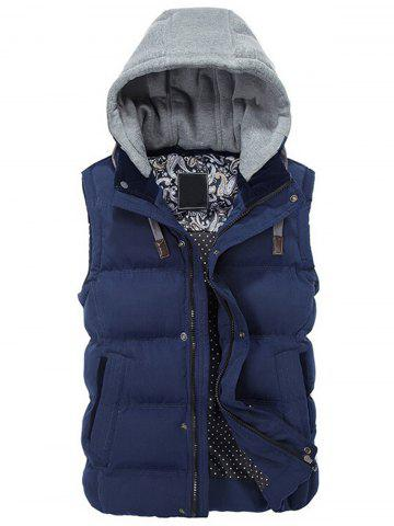 Fancy Contrast Drawstring Hood Padded Vest