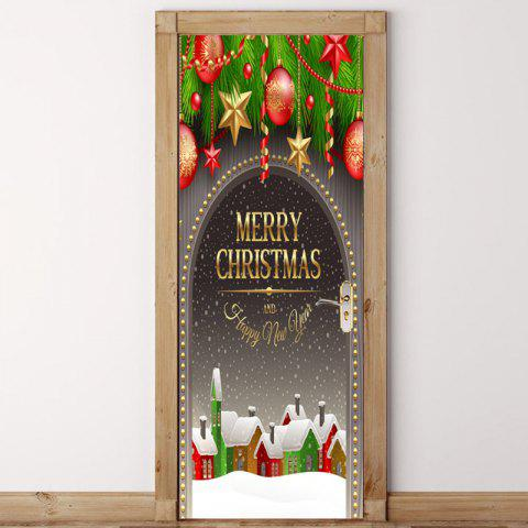 Affordable Snowscape Christmas Baubles Printed Door Stickers