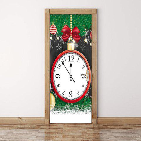 Chic Christmas Clock Pattern Environmental Removable Door Stickers & Colorful 38.5*200cm*2pcs Christmas Clock Pattern Environmental ...