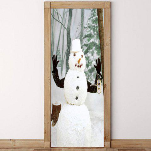 Fancy Forest Snowman Pattern Environmental Removable Door Stickers
