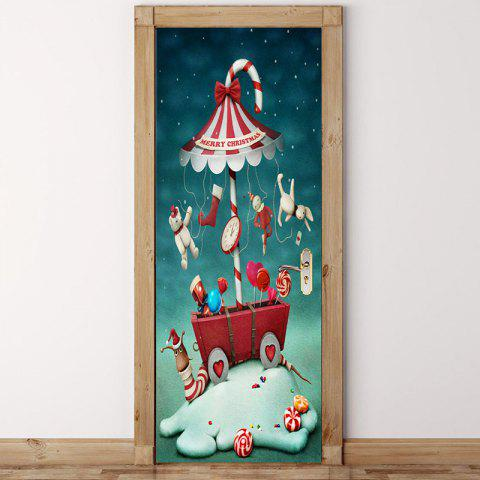Outfit Merry Christmas Candy Umbrella Pattern Door Art Stickers