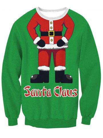 Unique Santa Claus Body Print Pullover Sweatshirt