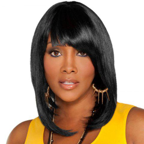 Fashion Medium Oblique Bang Straight Bob Human Hair Wig