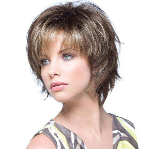 Outfits Short Side Bang Colormix Fluffy Straight Human Hair Wig