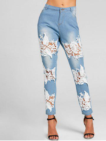 Cheap Lace Insert Destroyed Skinny Jeans