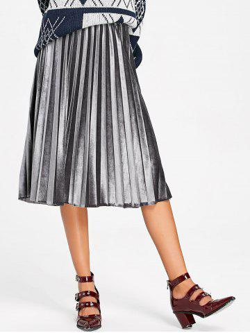 Shop Velvet High Waisted Midi Pleated Skirt