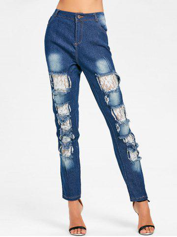 Outfits Lace Insert Skinny Distressed Jeans