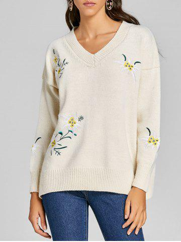 V Neck Embroidered Tunic Sweater