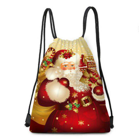 Store Santa Gift Pattern Christmas Candy Bag Drawstring Backpack