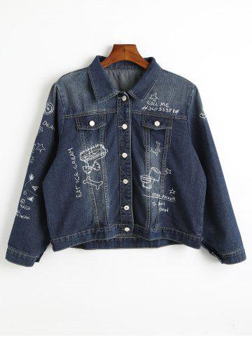 Chic Embroidered Plus Size Denim Jacket