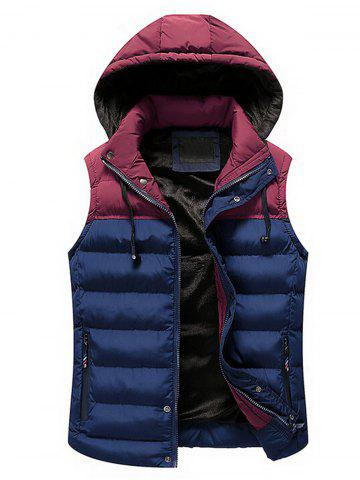 Sale Drawstring Color Block Hooded Puffer Vest