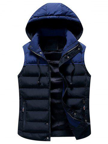 Hot Drawstring Color Block Hooded Puffer Vest