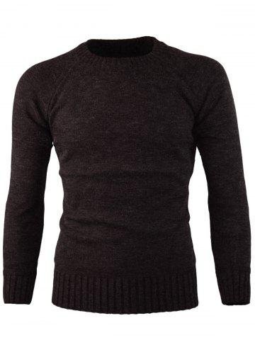 Discount Ribbed Edge Knitted Crew Neck Sweater
