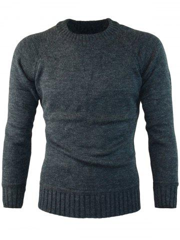 Fancy Ribbed Edge Knitted Crew Neck Sweater