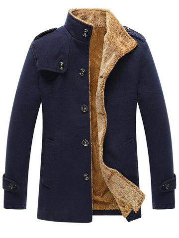 Shops Epaulet Plush Lined Singe Breasted Fleece Jacket