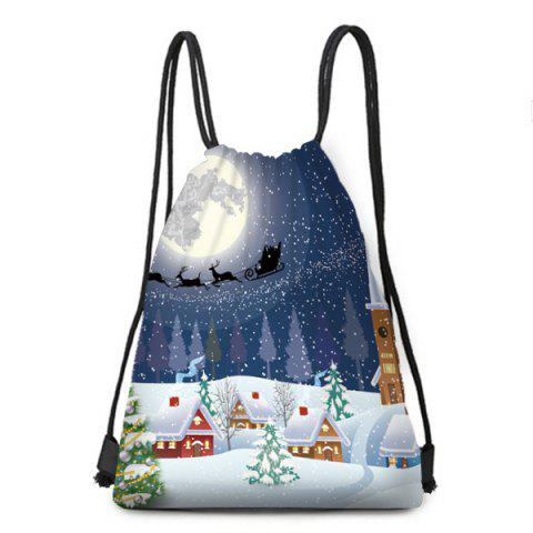 Cheap Christmas Snowy Night Print Drawstring Backpack